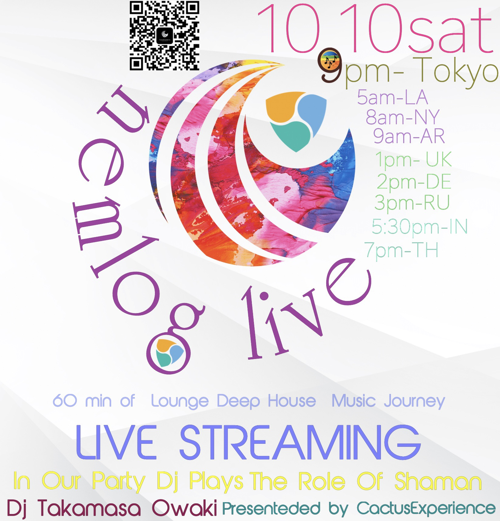 10/10 (sat) 9pm  nemlog LIVE STREAMING  DJ Takamasa Owaki LIVE PERFORMANCE