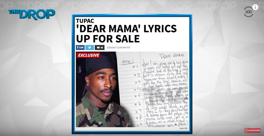 1996年に殺害された伝説的ラッパー・2Pacが残した名曲「Dear Mama」の手書き歌詞が売りに出された。この歌詞は2Pacの死からわずか3週間後にレコーディングスタジオで