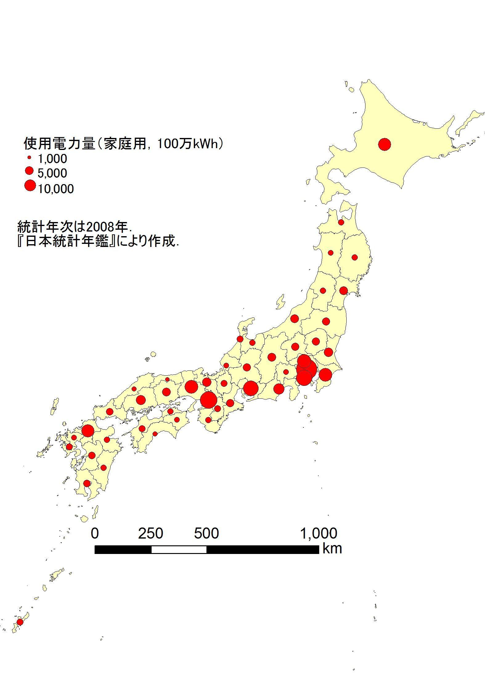 (d)図形表現図. 人口・家畜頭数や、電力量・生産量の分布に用いられる。