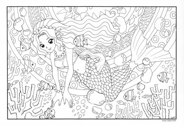 大人の塗り絵 8月おてんば人魚 Chabis Coloring Calendar