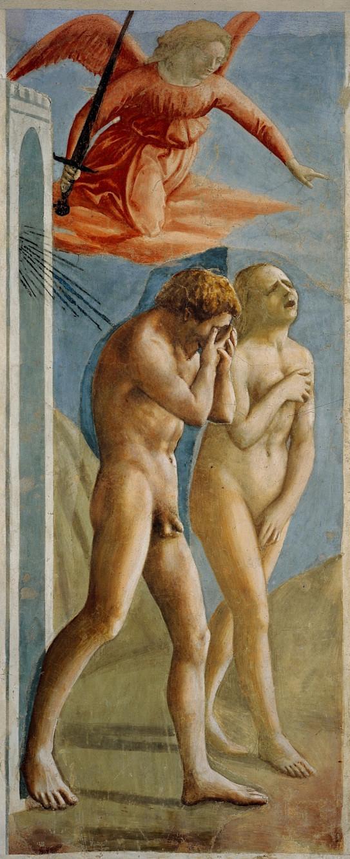 マザッチョ「楽園追放」1424~27年頃 サンタ・マリア・デル・カルミネ教会(フィレンツェ)tomo's artliteracy