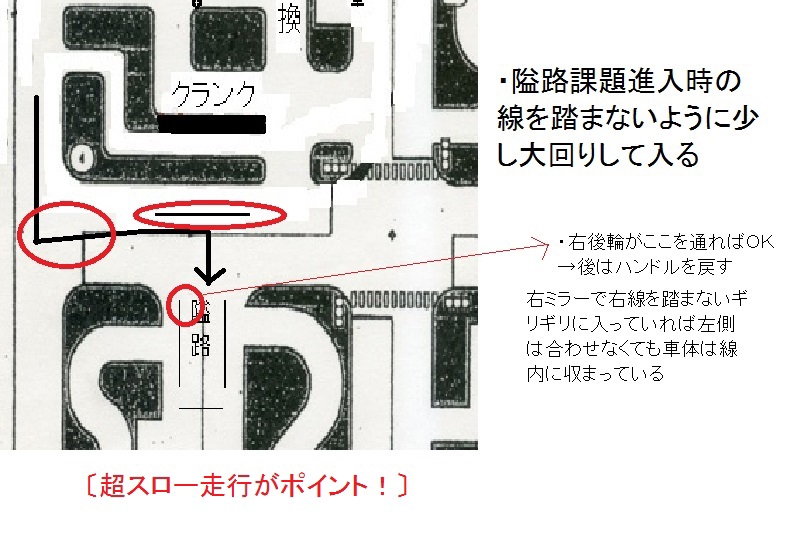 課題(10)隘路(右侵入) | 中型8t限定解除 免許取得 ~格闘記録~
