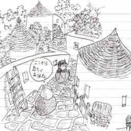 イラスト ページ1 夕暮れの裏庭